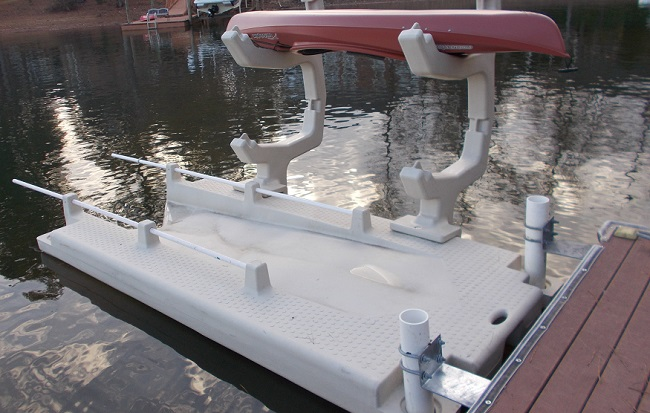 kayak rack bolted onto kayak dock